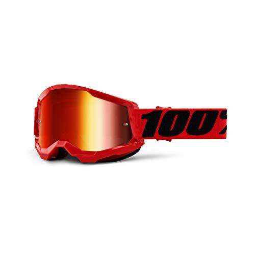 100% Strata 2 Motocross & Mountain Biking Goggles (RED - Mirror Red Lens) MX and Mountain Bike Racing Protective Eyewear