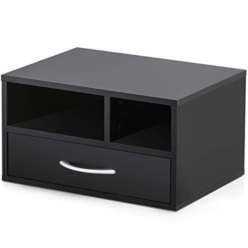 FITUEYES Drucker Ständer Holz Schwarz mit 2 Fächern 1 Schublade Schreibtisch Organizer für Büro und Zuhause 40x30x22cm DO304002WB