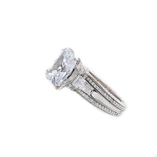 XIAOLIAN Anillo, 925 Plata Full Diamond Rhinestone Mujer Moda Personalidad Apertura Joyería de Tendencia Ajustable