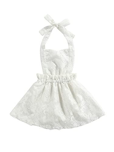 Bebé Recién Nacido Chicas Halter Mameluco Floral Encaje Lindo Princesa Vestido De Una Pieza Ropa