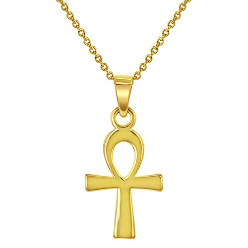 In Seizoen Sieraden 18K Geel Goud vergulde Egyptische Ankh Cross Ketting Hanger 18