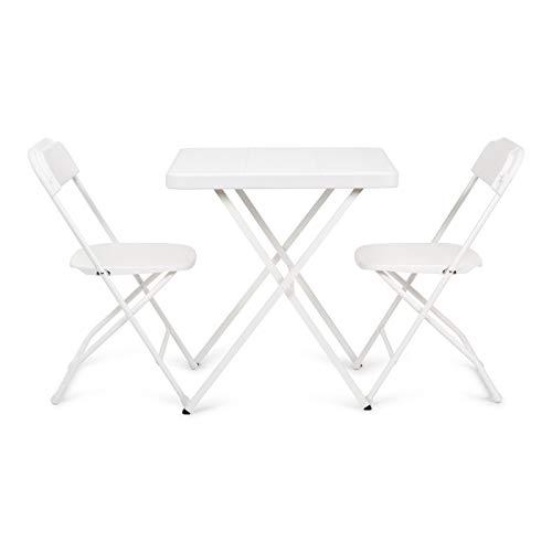 Newstorm 50011001119721 - Set mesa acero y dos sillas acero plegables ARUBA