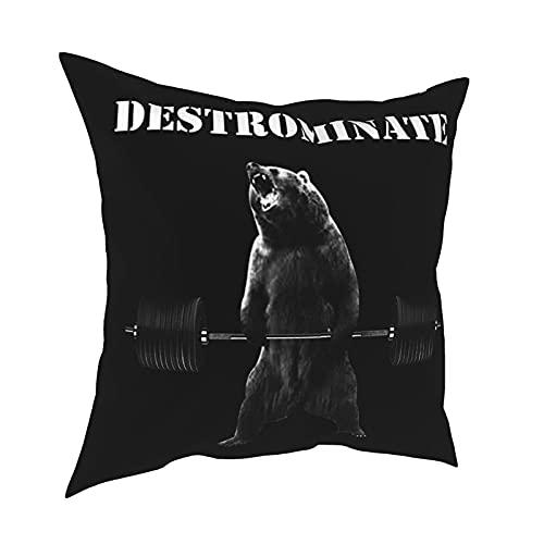 DRXX Destrominate - Deadlift Bear Tank Top Funda de Almohada Funda de Almohada Cuadrada de Moda Decoración Throw Pillow Cover 18 X 18 Pulgadas 45 X 45 cm