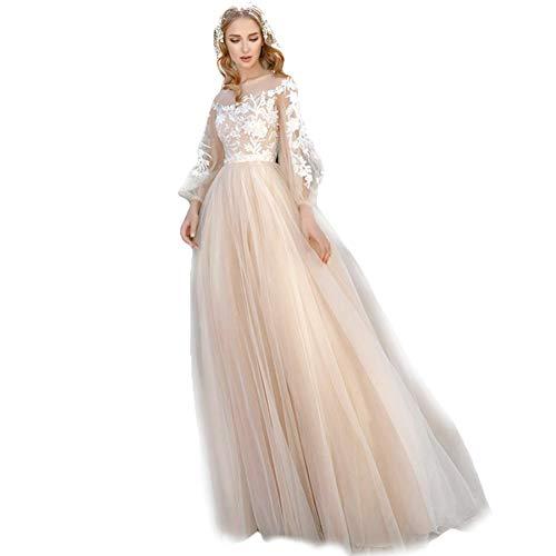 HYC Boho Spitze Country Hochzeitskleider maßgeschneiderte Applique Langarm A-Linie Tüll Sheer Brautkleider Gr. 48, Elfenbeinfarben