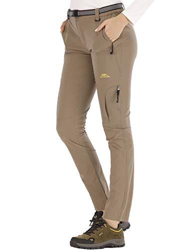 DAFENP Pantaloni Trekking Donna Softshell Impermeabili Pantaloni Montagna Escursionismo Leggero Traspirante Asciugatura Rapida All aperto KZ9959W-LightKhaki-L