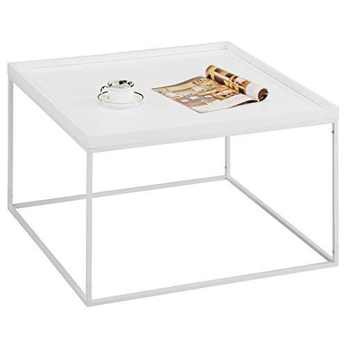 IDIMEX Couchtisch Now im modernen Design, Wohnzimmertisch Sofatisch Kaffeetisch, quadratisch, MDF Platte in weiß Metallgestell in weiß