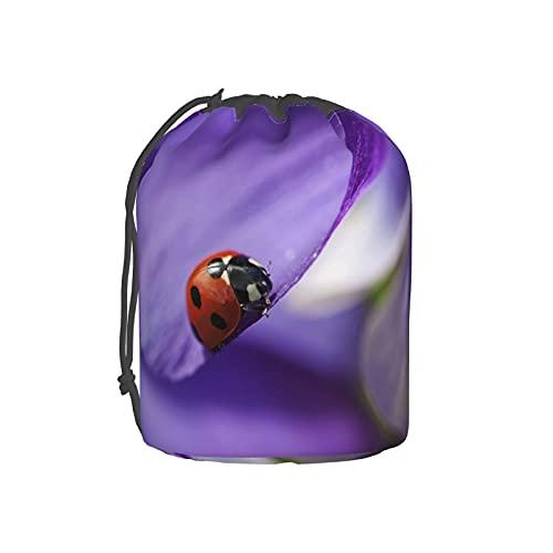 Bolsa de aseo con estampado de flores de mariquita, bolsa de maquillaje, bolsa de viaje