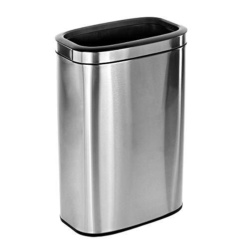 Alpine Industries 40 L / 10.5 Gal Stainless Steel Slim Open Trash Can - Compact Garbage Bin - Wide Access Top Slender Durable Receptacle with Sturdy Plastic Liner