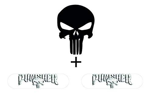 Reflektierende Aufkleber für Motorradhelm Punisher Pack Black (3 Sticker)
