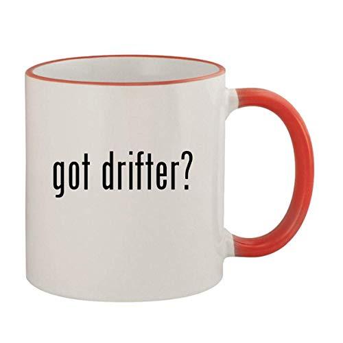 got drifter? - 11oz Ceramic Colored Rim & Handle Coffee Mug, Red