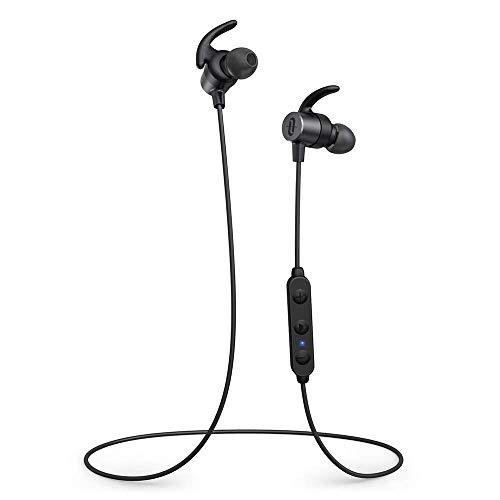 TaoTronics Auriculares inalámbricos Bluetooth 5.0, Auriculares Deportivos magnéticos aptX HD Audio, 14 Horas de reproducción, ajustes EQ, cancelación de Ruido CVC 8.0 IPX6, micrófono Integrado
