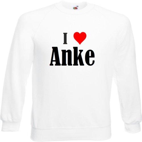 Reifen-Markt Sweatshirt I Love Anke Größe 2XL Farbe Weiss Druck Schwarz