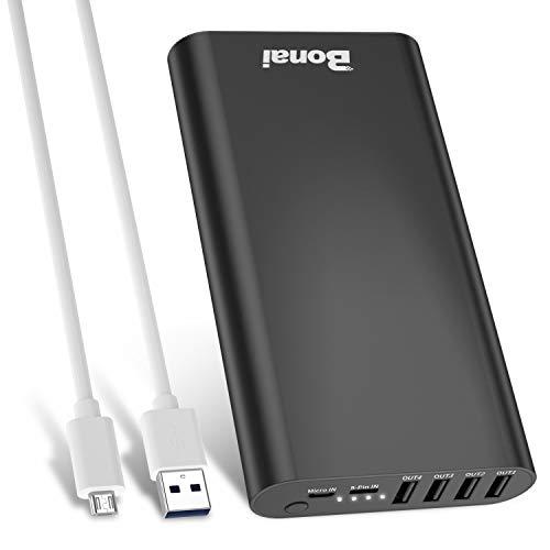 BONAI Batería Externa iPhone 23800mAh Power Bank con 4 Puertos USB y 2 Entradas...