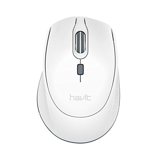 2.4G Wireless Mouse HAVIT 2000DPI Optical Mini Portable Mobile with USB Receiver, 3 Adjustable DPI Levels, 4 Buttons for Notebook, PC, Laptop, Computer, Macbook - White