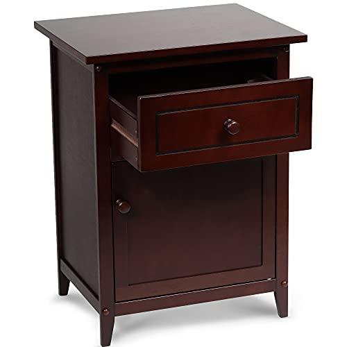 PJ Wood Nightstand with Storage Cabinet Drawer, Modern Versatile Night Stand - Espresso