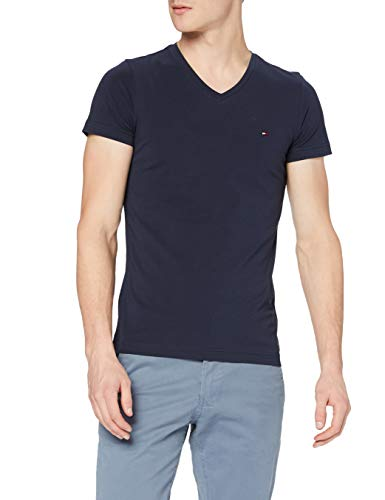 Tommy Hilfiger Herren CORE Stretch Slim Vneck Tee T-Shirt, Blau (Navy Blazer 416), Small