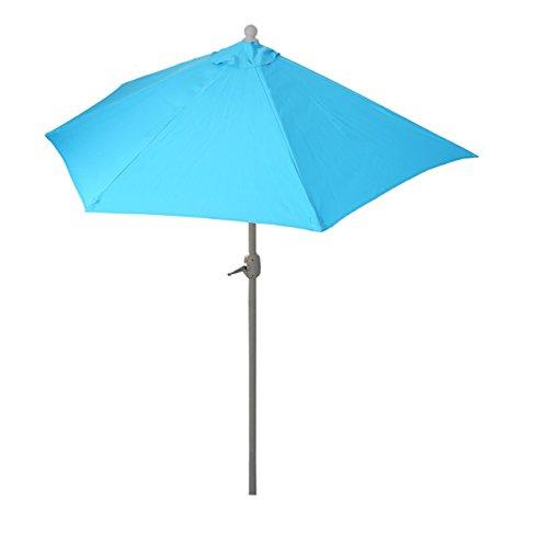 Mendler Sonnenschirm halbrund Parla, Halbschirm Balkonschirm, UV 50+ Polyester/Alu 3kg ~ 270cm türkis ohne Ständer
