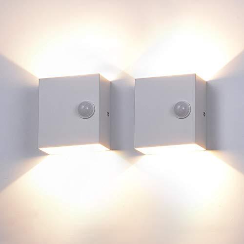 2 Stücke 6W LED Wandleuchte Wandlampe mit Bewegungsmelder Up Down Indoor Wandleuchte Moderne Aluminium Wandbeleuchtung LED für Wohnzimmer Schlafzimmer,Warmweiß [Energieklasse A++]- Weiß