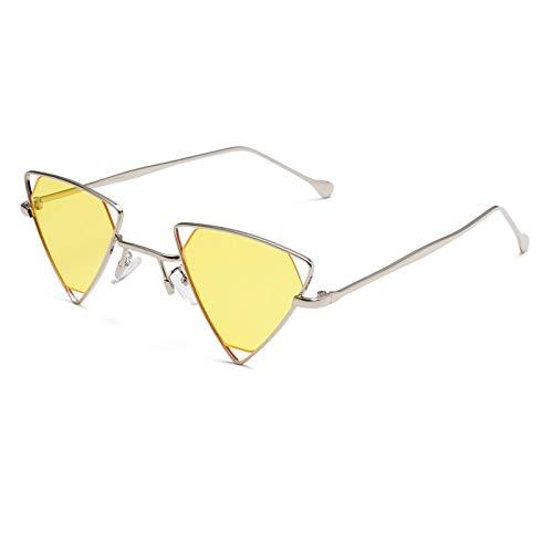 YOULIER Gafas de sol retro vintage punk para mujer, triángulo de metal, para mujer, gafas de sol Uv400, para mujer, 1167-6