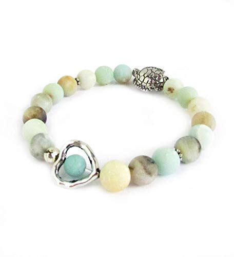 Amazonite Bracelet with Sea Turtle Charm - Heart Bracelet - Stone Bracelet - Turtle Jewelry - Mother's Day Gift for Her