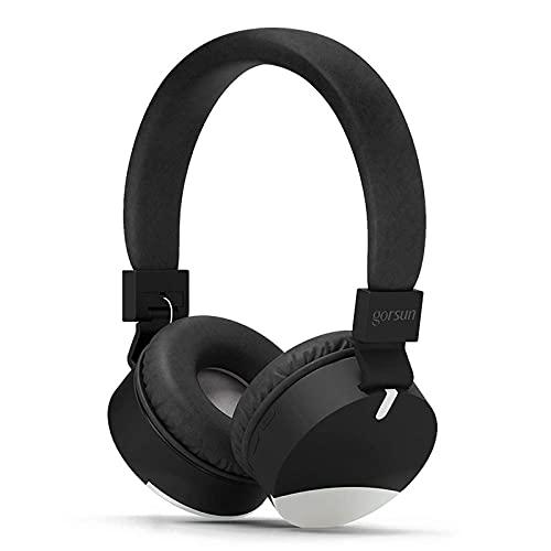 Auriculares Bluetooth para Niños, Auriculares Plegable para Niños con 120dB Sonido Estéreo Volumen Limitado, Auriculares Ajustable y Plegable con Micrófono, Duraderos Los Niños Auriculares,Black