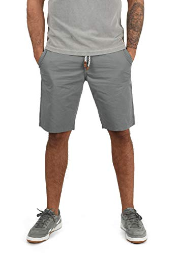 Blend Ragna Herren Chino Shorts Bermuda Kurze Hose Mit Kordel-Gürtel Aus 100% Baumwolle Regular Fit, Größe:L, Farbe:Aluminium (70107)