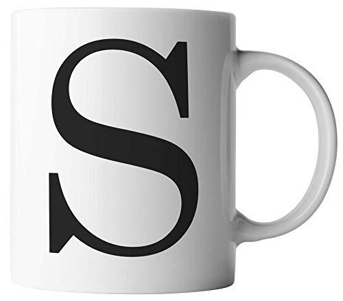 vanVerden Tasse - Buchstaben Tasse S - Alphabet Letters Buchstabe - beidseitig Bedruckt - Kaffeetassen, Tassenfarbe:Weiß