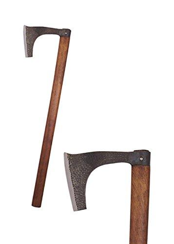 Battle-Merchant - Wikinger-Bartaxt - handgeschmiedet aus echtem Stahl - Kampfaxt für Erwachsene - für Ritter-, Mittelalter- und Wikingerkostüme