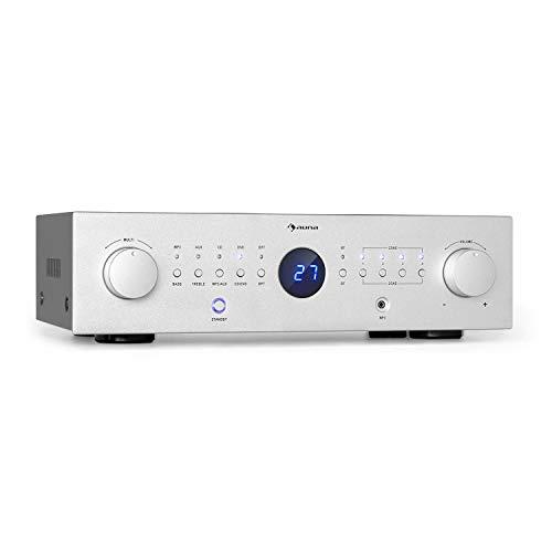 auna AMP-CD950 DG - Power Amplifier Verstärker, Ausgangsleistung: 8 x 100 Watt RMS an 4 Ohm, Built-in DSP, 4 Stereo-Zonen, Bluetooth, Optischer Eingang, AUX-In, CD-In, DVD-In, MP3-In, Silber