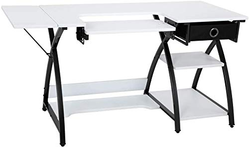 Sewing Craft Table, Sewing Machine Desk with Adjustable Folding Shelves and Storage Drawer, X Frame Sturdy Multipurpose Sewing Desk, White MDF, 57.1×23.6×29.9 inches