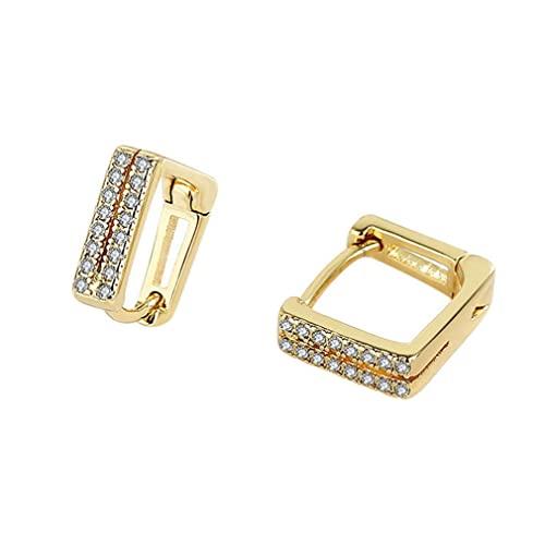Orecchini da Donna Catena di Forma Quadrata Orecchini incastonati di Diamanti Delicati Eleganti Orecchini a Clip Orecchini a Lobo Gioielli per l'orecchio (Oro)
