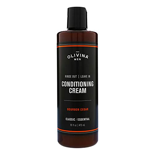 Olivina Men Rinse Out/leave In Conditioning Cream, White, Bourbon Cedar, 16 Fl Oz