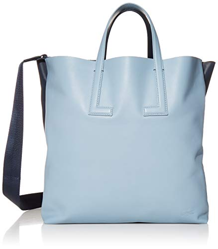 Lacoste Doublesided Tote Bag with Strap, Cement/Light Blue-Clay