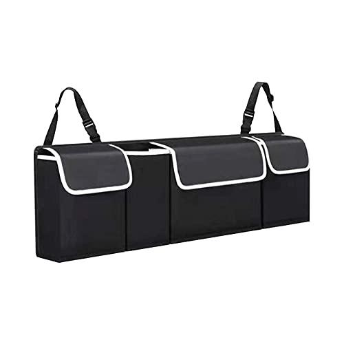 Organizador para maletero coche para guardar varias correas hebilla ajustables para adaptarse a bolsas almacenamiento plegables PVC impermeables que mantienen el coche ordenado limpio (negro)