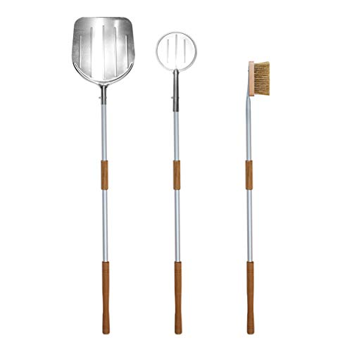 LGVSHOPPING Kit Blades 3 Piece Pizza Pizza Shovel Wood Oven Set with Oven Cleaning Brush
