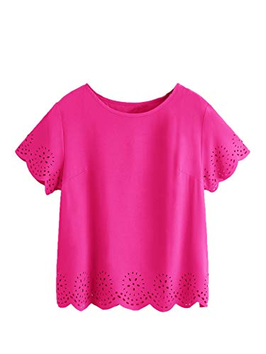 SheIn Women's Casual Round Neck Summer Short Sleeve Scallop T-Shirt Top Blouse X-Large Bright Pink