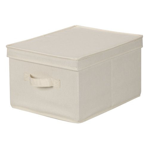 Household Essentials 113 Storage Box with Lid and Handle - Natural Beige Canvas - Large