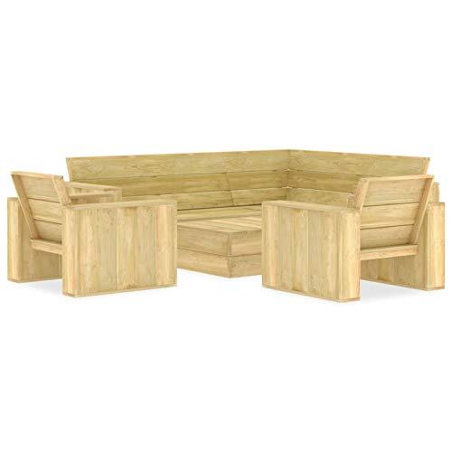 Tidyard Juego de Muebles de Jardín 4 Piezas Conjunto de Muebles para Jardín Terraza o Patio Mdera de Pino Impregnada