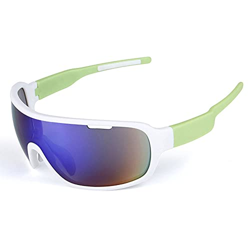 Wsaman Polarisierte Fahrradbrille, Sonnenbrille für Männer Frauen, Sportbrille mit 5 Wechselgläser, UV400 Schutz für Outdoorsports wie Radfahren, Autofahren, Laufen, Angeln, Biking,b,Unisex