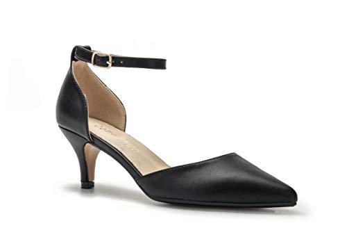ComeShun Damen-Sandalen mit niedrigem Kätzchenabsatz, Knöchelriemen, geschlossener Zehenbereich, Pumps, Kleid, Brautparty, D'Orsay Schuhe, Schwarz (Schwarz (Black Pu)), 39 EU