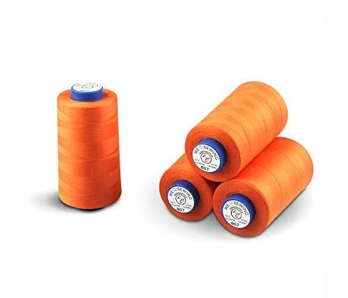 La Canilla ® - Conos de Hilo para Overlock y Máquinas de Coser Kit de 4 Bobinas (4.450mts x4) (Naranja)