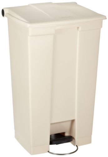 Rubbermaid Commercial Polyethylene 23-Gallon Fire-Safe Step-On Receptacle, Rectangular, Beige