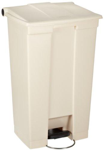 Rubbermaid Commercial Polyethylene 23-Gallon Fire-Safe Step-On Receptacle, Rectangular, Beige