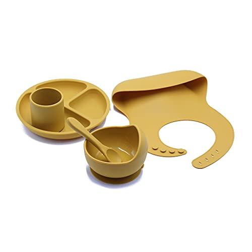 Y-POWER 5 unids/set BPA libre bebé silicona vajilla babero impermeable color sólido cena plato lechón tazón y cuchara para niños