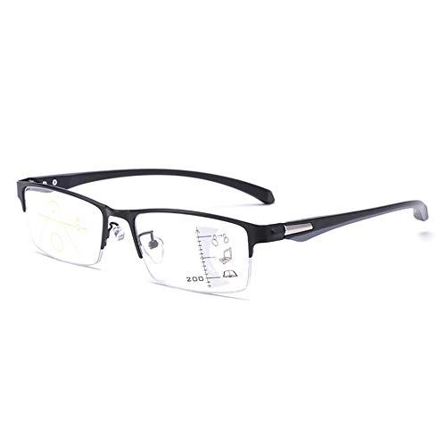 Lesebrillen Herren Damen Klassische Metall Halbrandbrille Lesehilfe Federschaniere Klar Brille Augenoptik Vintage Sehhilfe Arbeitsplatzbrille SehstäRke,Black-+1.50