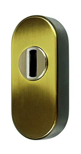 SN-TEC Schutzrosette/Schieberosette/Zylinderschutz oval mit Kernziehschutz 11,5mm messing brüniert Altdeutsch