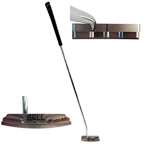 """Bell Putters Half Offset Golf Putter 360g Polish Chrome Finish Right-Handed/RH with Winn Midsize Putter Grip and 34"""" Shaft"""