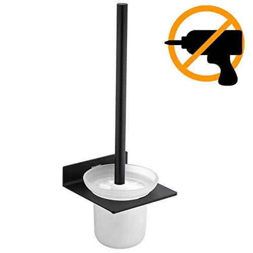 Wangel WC-Bürste und Halter WC-Garnitur ohne Bohren Wand, Patentierter Kleber + Selbstklebender Kleber, Aluminium und Glas, Matte Finish, Schwarze