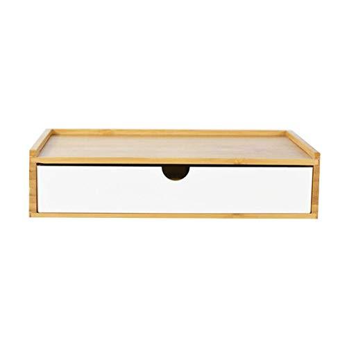 QCCOKNN Caja de almacenamiento de bambú delicada funda multifuncional decorativa para organizador de mesa simple para hotel, dormitorio, baño de casa