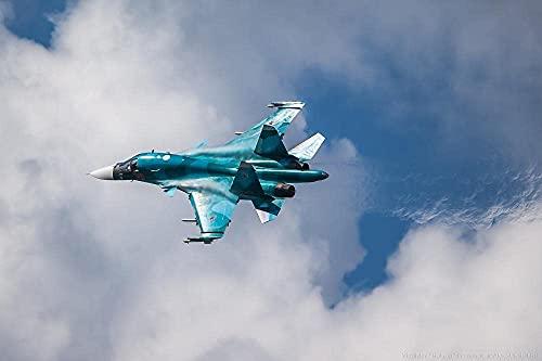 Rompecabezas de 1000 piezas para adultos Aviones militares Su-34 Fuerza aérea rusa, Rompecabezas de papel Juguete de ocio, Juego educativo de intelectual Decoración del hogar Arte de regalo (38x26cm)